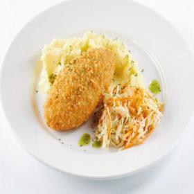 Куриная котлета с сыром и картофельным пюре
