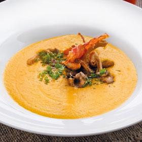 Тыквенный суп-крем с вешенками