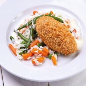 Рыбная котлета с рисом и овощами(ЧЕТВЕРГ)